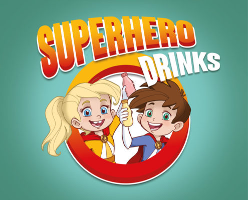 Studio Sabine - Illustraties | Karakter ontwerp superhelden yoghurtdrink