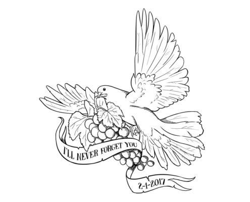 Studio Sabine - Illustraties & Ontwerp | Tattoo ontwerp duif met druiventros