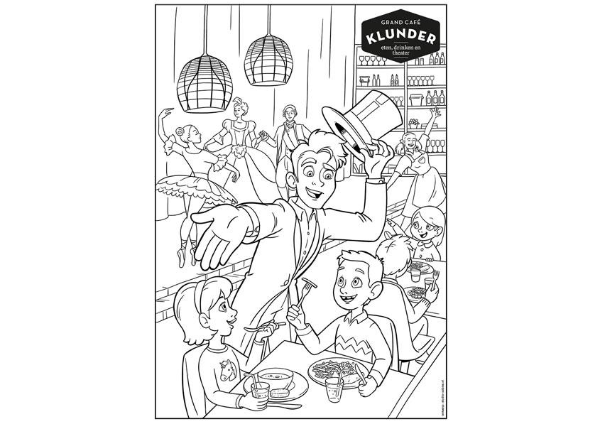 Studio Sabine - Illustraties | Kleurplaat voor Grand Café Klunder